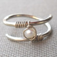 Fresh Water Pearl Wrapped Silver Wire Twisted Ring