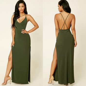 Cross Back  deep V maxi dress B0016452
