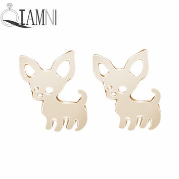 Pet Lovers Gift Vintage Hippie Boho Lovely chihuahua Dog Animal Stud Earring Christmas Piercing Jewelry Girls Women Pendientes