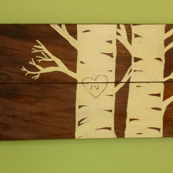 Custom Horizontal Birch Tree Wood Sign with Initials