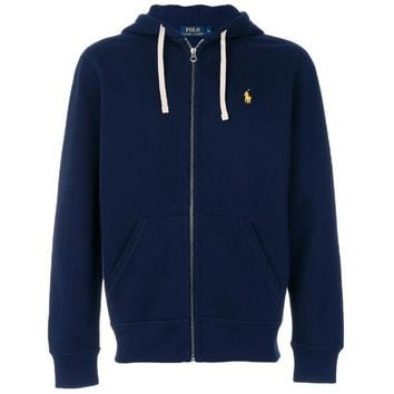 Polo Ralph Lauren Trending Women Men Loose Logo Embroidery Zipper Hoodie Pullover Top Sweater Coat Dark Blue I-KWKWM