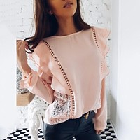 2019 Spring Autumn New Lady Causal O-Neck Long Sleeve Solid Female Shirts Lace Patchwork Chiffon Blouses Women Ruffle Tops