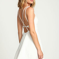 Ivory Cage Strappy Flare Dress - LoveCulture