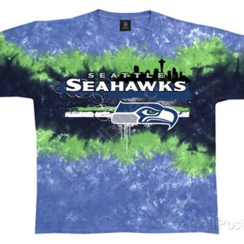SEATTLE SEAHAWKS  'HORIZONTAL STENCIL'  Tie Dye  T-Shirt NEW NFL Licensed Appare