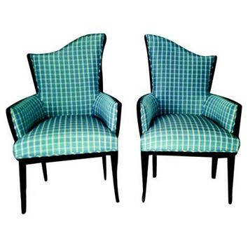 Pre-owned Mid-Century Winged Parlor Chairs - A Pair