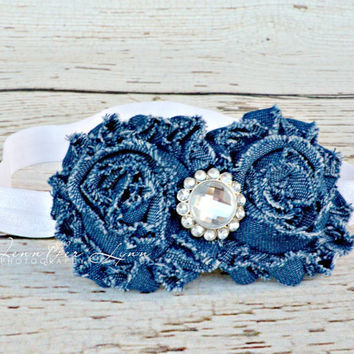 Denim Headband... Baby Girls Headbands... Denim Shabby Flower Headband... Girls Rhinestone Headbands