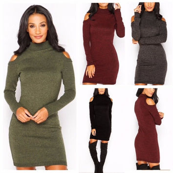 Christmas Warm 2017 Autumn Winter Dress High Quality Knitted High-necked Dresses package hip Sheath Bodycon Dress Robes Vestidos
