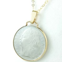 Italian 100 Lire 1977 Coin Pendant Gold Filled Bezel Chain Necklace