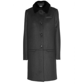givenchy - wool coat with mink collar