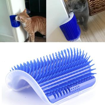 Pet Cat Play Toy Plastic Hair Removal Brush Comb Grooming Tool Dog Hair Shedding Trimming Cat Corner Massage Device With Catnip