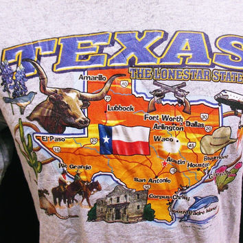 Vintage T-Shirt Texas State Indie Hipster Holiday Tourist M