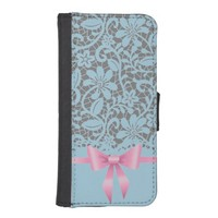 Lace,ribbon,pink,white,multicolour,girly,cute,chic Phone Wallet