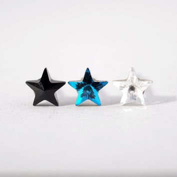 Black/ Arctic Blue/ Crystal Swarovski Star stud Earrings