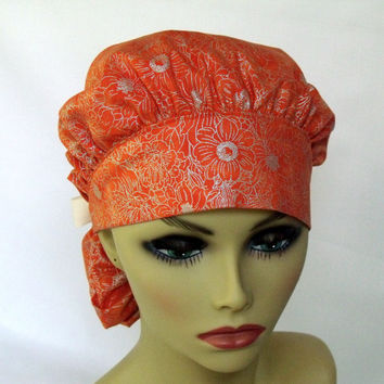Women's Bouffant Scrub Hat or Cap  Head Cover Hospital Hat Pony Tail Style Orange with Silver Flowers