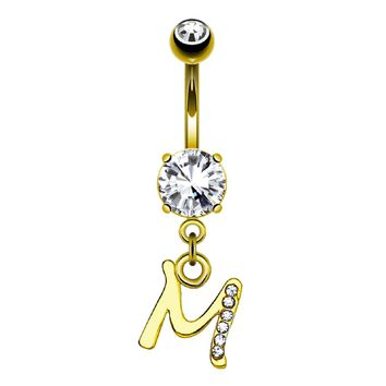BodyJ4You Belly Ring Button Navel Dangle Yellow Gold Letter M Initial Piercing Jewelry