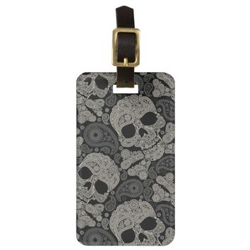 Sugar Skull Crossbones Pattern Luggage Tag