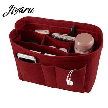 Womens Makeup Organizer Felt Cloth Insert Bag Multifunctional Women Cosmetic Bag Makeup Bag for Ladies Travel Organizer