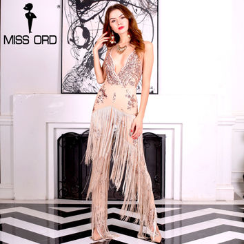 Missord 2017 Sexy Deep-V sleeveless backless sequin and tassel  jumpsuit FT4954-1
