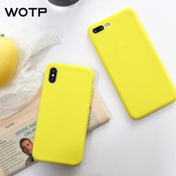 WOTP Fashion Candy Color Soft  Phone Case For iphone X Cute Cartoon Couple Retro Lemon Yellow Back Cover For iPhone6 6S 7 8 Plus