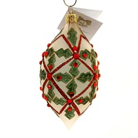 Golden Bell Collection Teardrop With Holly Glass Ornament