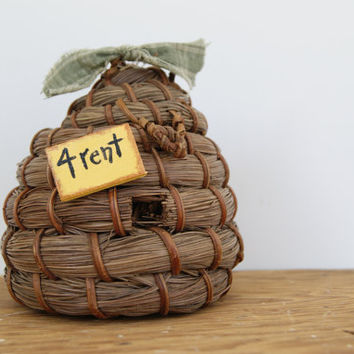 Bee Hive Decor ~ Miniature Bee Skep Home Decor With For Rent Sign ~ Country Home Decor Bee Hive