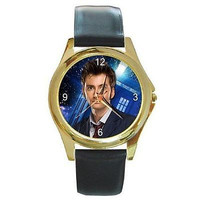 Dr Who David Tennant w/ Tardis on a Gold Tone Watch w/ Leather Bands