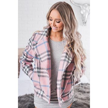 Telling Secrets Plaid Jacket (Pink)