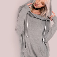 Lightweight Soft Knit Draw String Slouchy Hoodie HEATHER GREY | MakeMeChic.COM