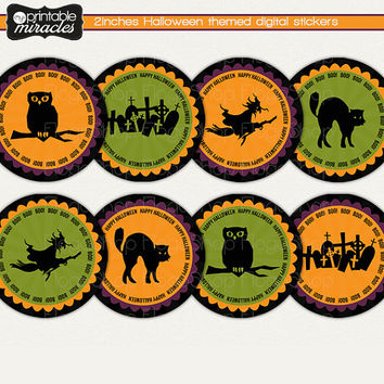 Halloween decor, spooky halloween decorations, Printable halloween stickers, Halloween cupcake topper