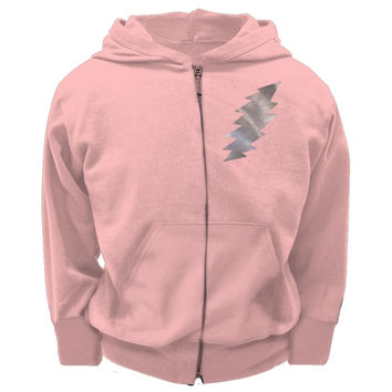 Grateful Dead - Foil Bolt Pink Youth Zip Hoodie