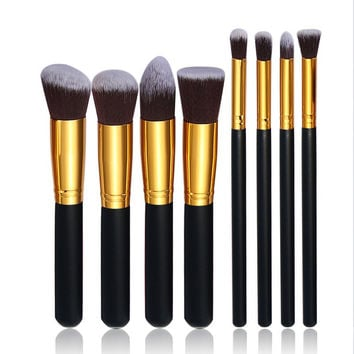 8pcs professional makeup brushes tools set pinceis de maquiagem organizer use wood metal nylon  palette for makeup brush