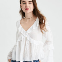 AE Criss Cross Lace Ruffle Top, White