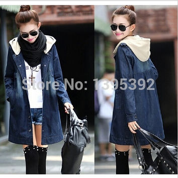 2014 New Loose Jeans Long Jackets Women Autumn Vintage Style Denim Coats Ladies Street Plus Size Female Coats = 1929792260