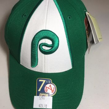 PHILADELPHIA PHILLIES AMERICAN NEEDLE COOPERSTOWN COLLECTION GREEN FITTED HAT