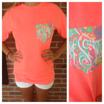 Lilly Pulitzer Fabric Pocket Monogrammed Tee