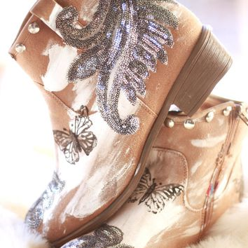 Camel Brown Boots, Boho Festival Booties, 9.5 Studded Country Girl Ankle #boots, Bohemian Gypsy Cowgirl Short Booties, True Rebel Clothing