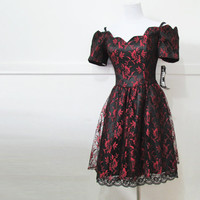 Black Red Lace Dress Vintage 80s Small NOS NWT