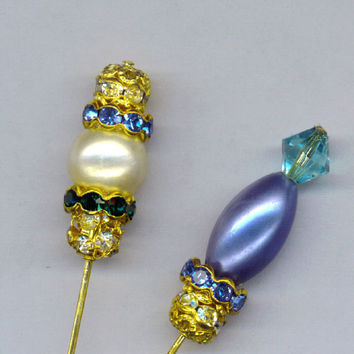 PAIR Gold HATPIN Brooch Stick Pins Victorian Style Blue Oval Pearl Swarovski Crystals 6 Inch