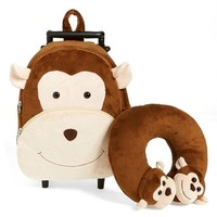 Toddler Boy's Popatu 'Monkey' Rolling Backpack - Brown