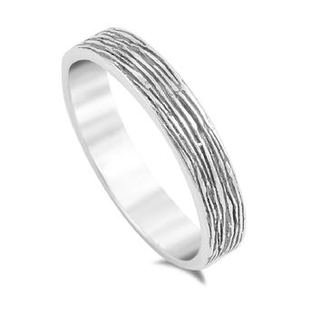 925 Sterling Silver Tree Trunk Texture Ring 4MM