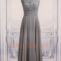 Gray Beaded Long Prom Dresses 2015, Bridesmaid Dresses , Homecoming Dresses ,Evening Dresses, Hot Party Dresses, Wedding Party Dresses