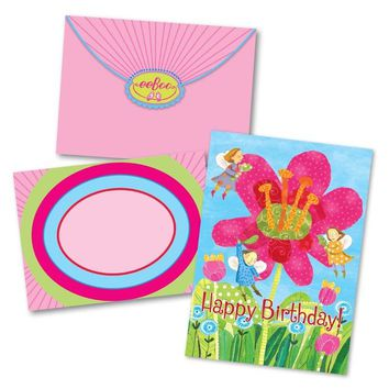 Fairies with Giant Pink Flower Birthday Card
