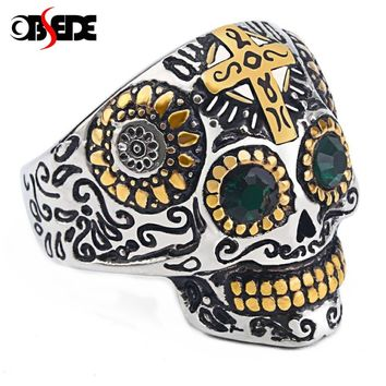 OBSEDE Punk Gothic Titanium Stainless Steel Casting Skull Cross Ring Green CZ Eyes for Men Jewelry Vintage Biker Party Gift
