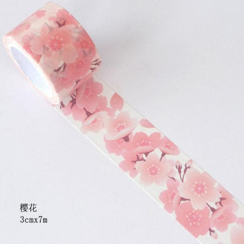 JI106 3cm Wide Pale Pink Cherry Decorative Washi Tape DIY Scrapbooking Masking Tape School Office Supply Escolar Papelaria