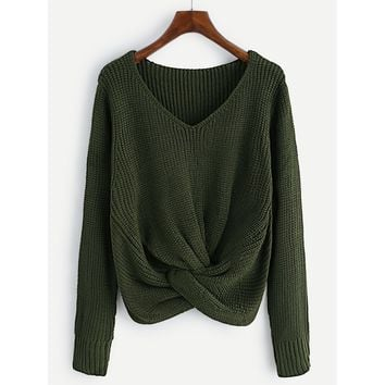 V-neckline Twist Front Chunky Sweater Army Green