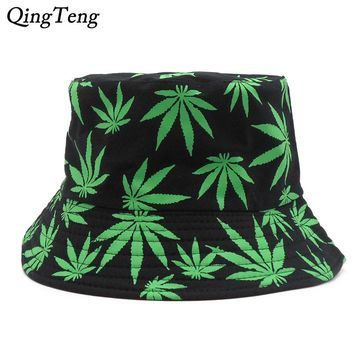Weed Bucket Hat Men 2018 New Fashion Adults Print Cap Foldable Cotton Summer Outdoor Fishing Hats Hip Hop Cap Colorful
