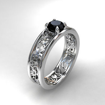Ready to ship size 5.25, 0.50ct Black diamond ring, filigree engagement ring, black diamond engagement, diamond ring, white gold, gothic