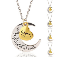 Antique Silver Gold Flashed Heart I Love You To The Moon and Back Pendant Necklace