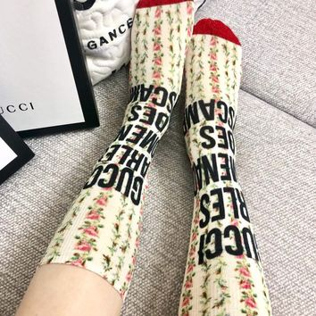 GUCCI Letters and flower lurex socks