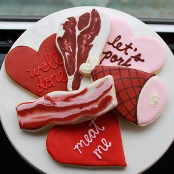 Man Meat Valentine Cookie Gift Box (vanilla) 6 Mega Cookies   Made To Order